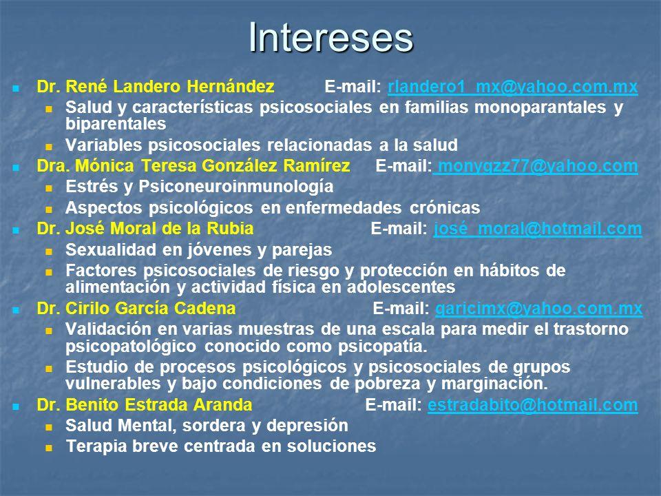 Intereses Dr. René Landero Hernández E-mail: rlandero1_mx@yahoo.com.mx