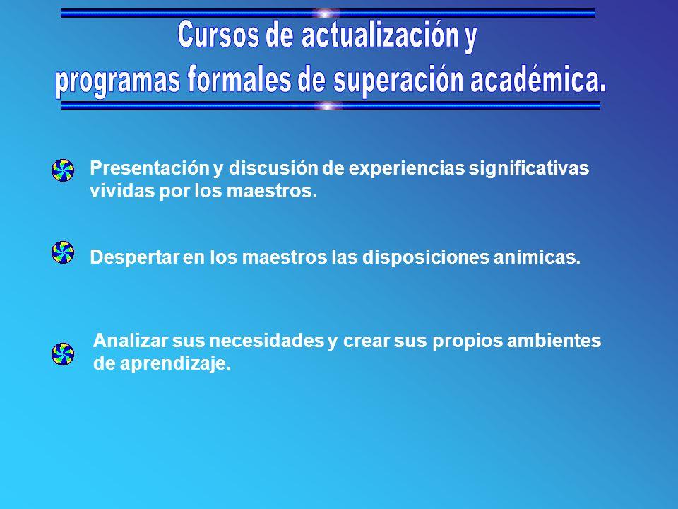 Cursos de actualización y programas formales de superación académica.
