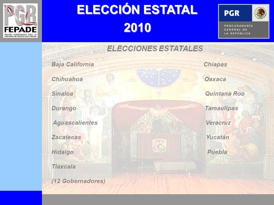 ELECCIÓN ESTATAL 2010 ELECCIONES ESTATALES Baja California Chiapas