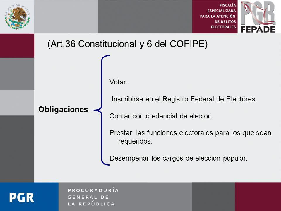 (Art.36 Constitucional y 6 del COFIPE)