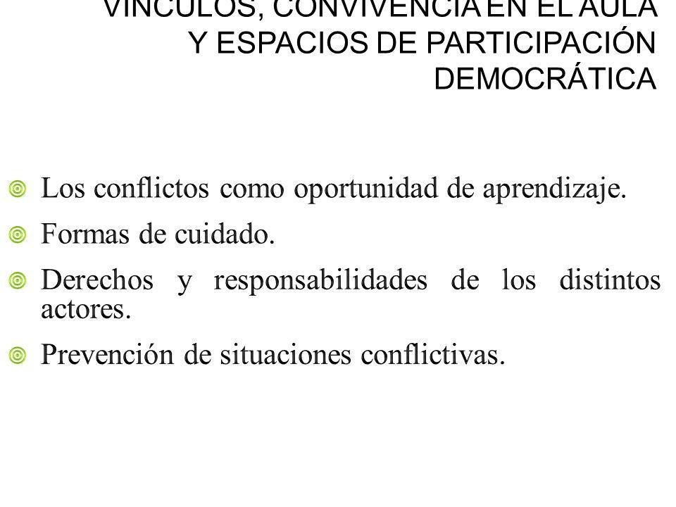 VÍNCULOS, CONVIVENCIA EN EL AULA Y ESPACIOS DE PARTICIPACIÓN DEMOCRÁTICA