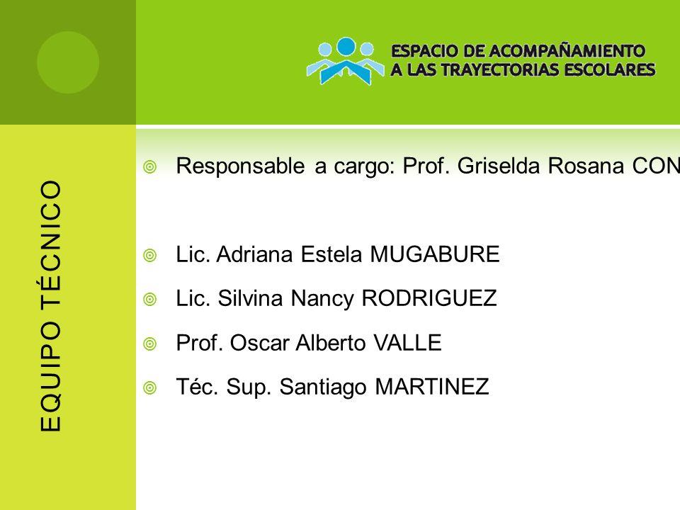 EQUIPO TÉCNICO Responsable a cargo: Prof. Griselda Rosana CONDE