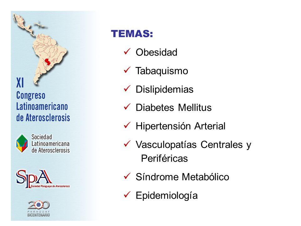 TEMAS: Obesidad. Tabaquismo. Dislipidemias. Diabetes Mellitus. Hipertensión Arterial. Vasculopatías Centrales y Periféricas.