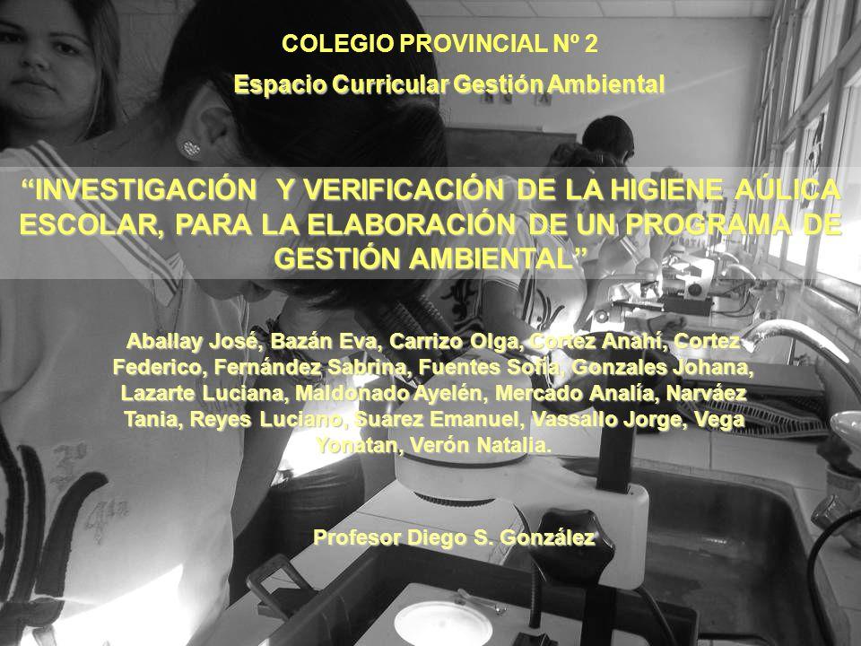 Espacio Curricular Gestión Ambiental Profesor Diego S. González