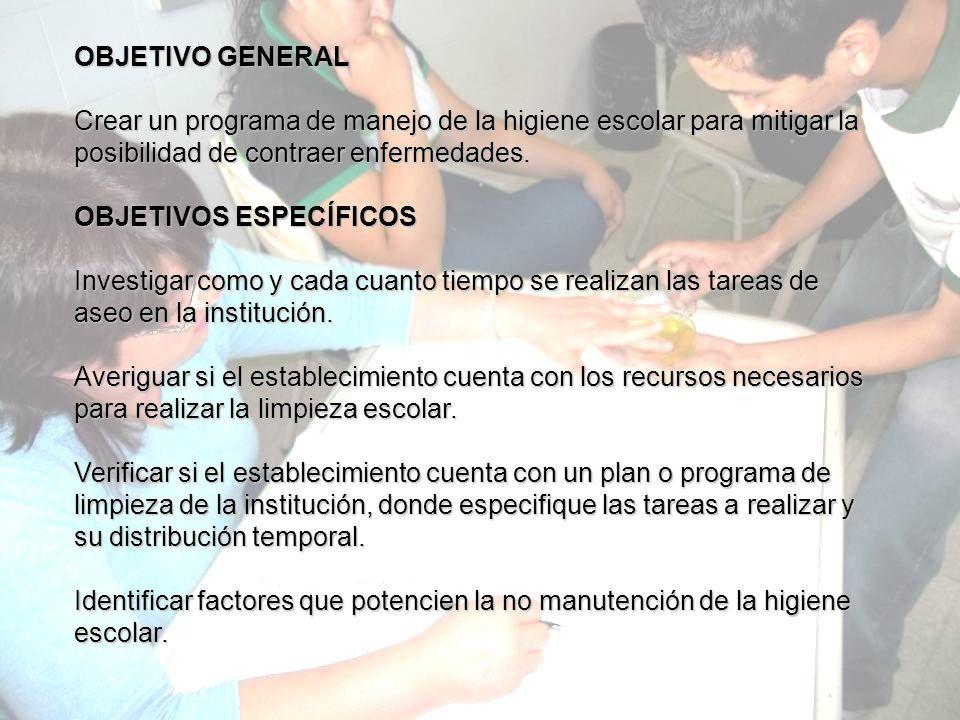 OBJETIVO GENERAL Crear un programa de manejo de la higiene escolar para mitigar la posibilidad de contraer enfermedades.