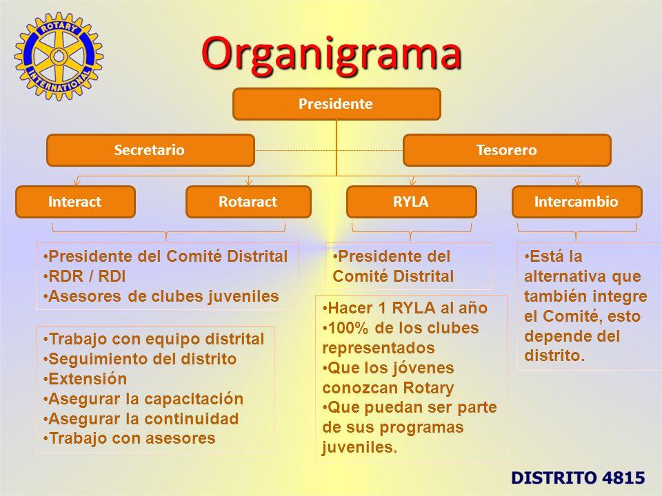 Organigrama Presidente Secretario Tesorero Interact Rotaract RYLA