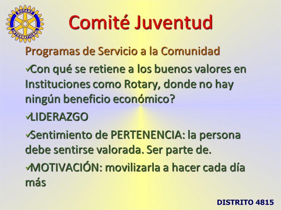 Comité Juventud Programas de Servicio a la Comunidad