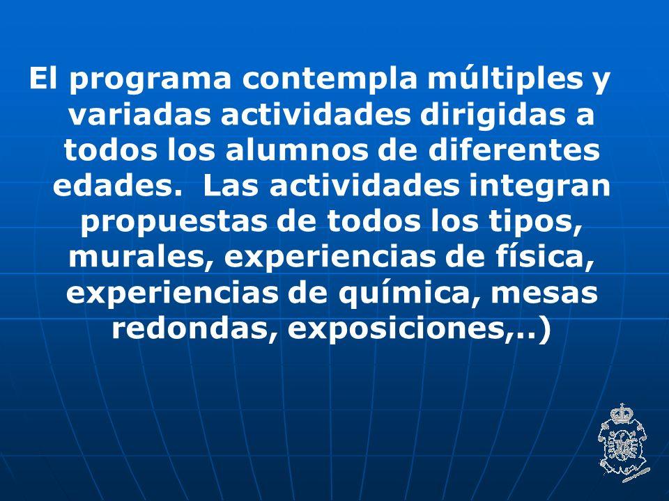 El programa contempla múltiples y variadas actividades dirigidas a todos los alumnos de diferentes edades.