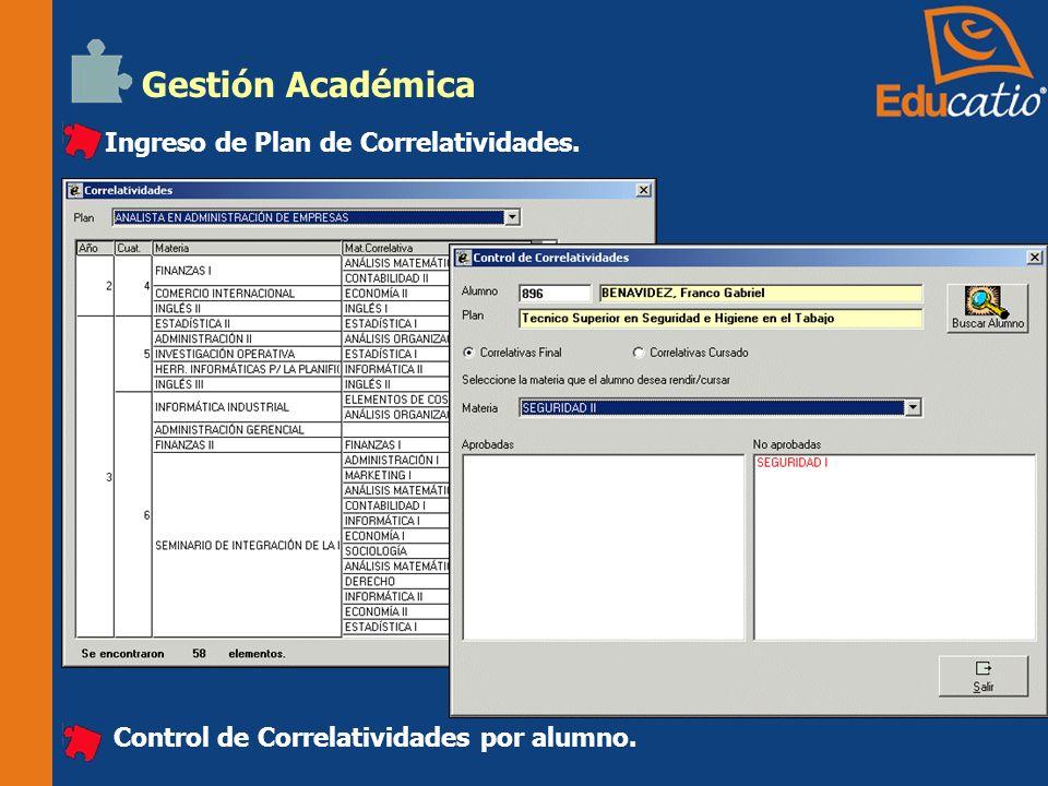 Gestión Académica Ingreso de Plan de Correlatividades.