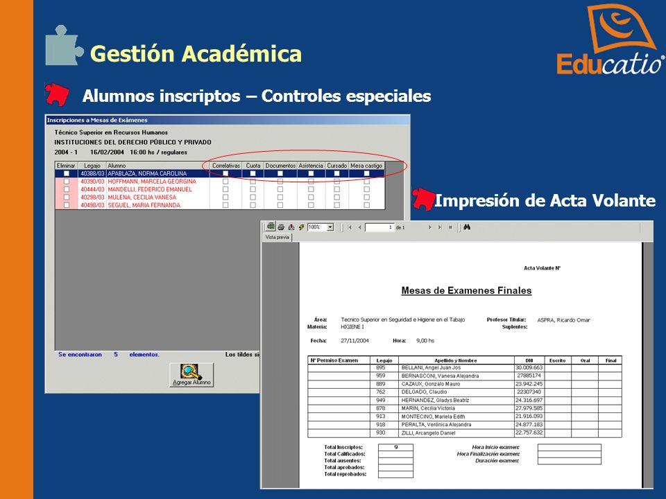 Gestión Académica Alumnos inscriptos – Controles especiales