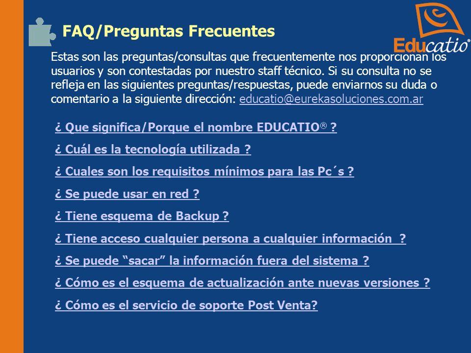 FAQ/Preguntas Frecuentes