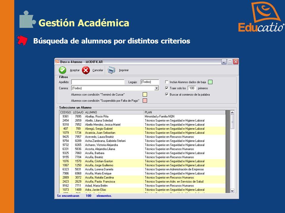 Gestión Académica Búsqueda de alumnos por distintos criterios