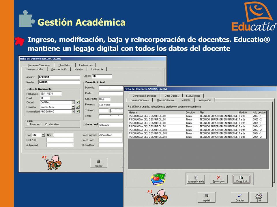 Gestión Académica Ingreso, modificación, baja y reincorporación de docentes.