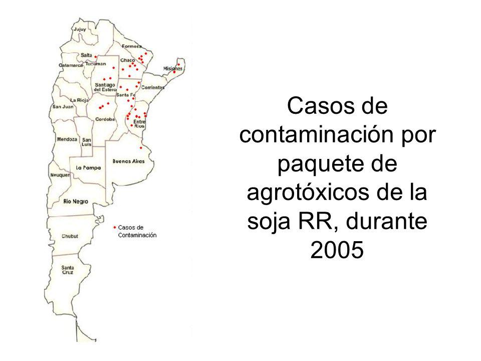 Casos de contaminación por paquete de agrotóxicos de la soja RR, durante 2005