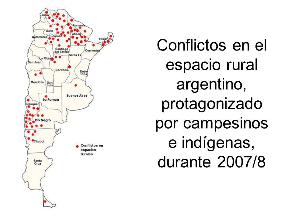 Conflictos en el espacio rural argentino, protagonizado por campesinos e indígenas, durante 2007/8