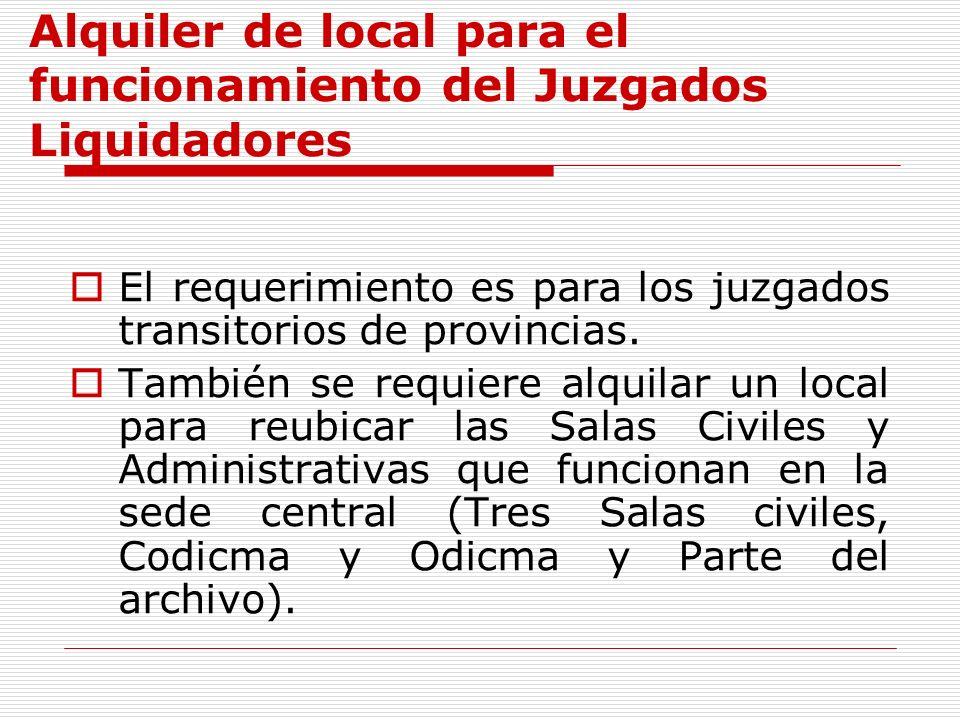Alquiler de local para el funcionamiento del Juzgados Liquidadores