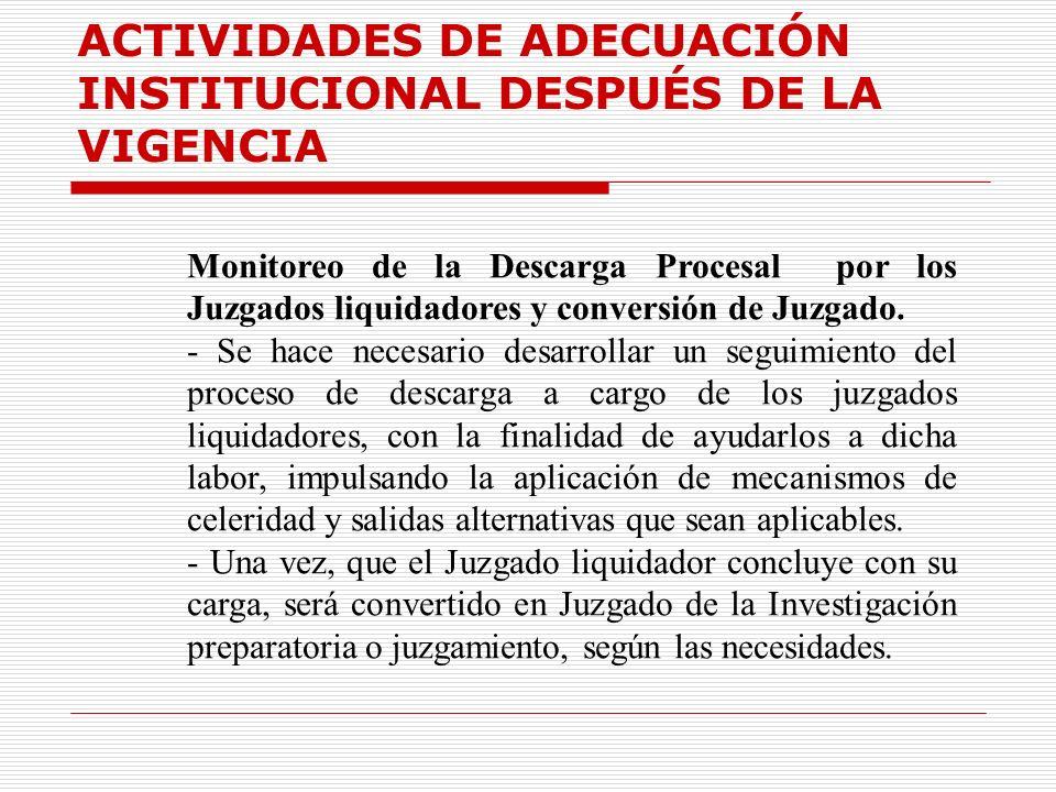 ACTIVIDADES DE ADECUACIÓN INSTITUCIONAL DESPUÉS DE LA VIGENCIA