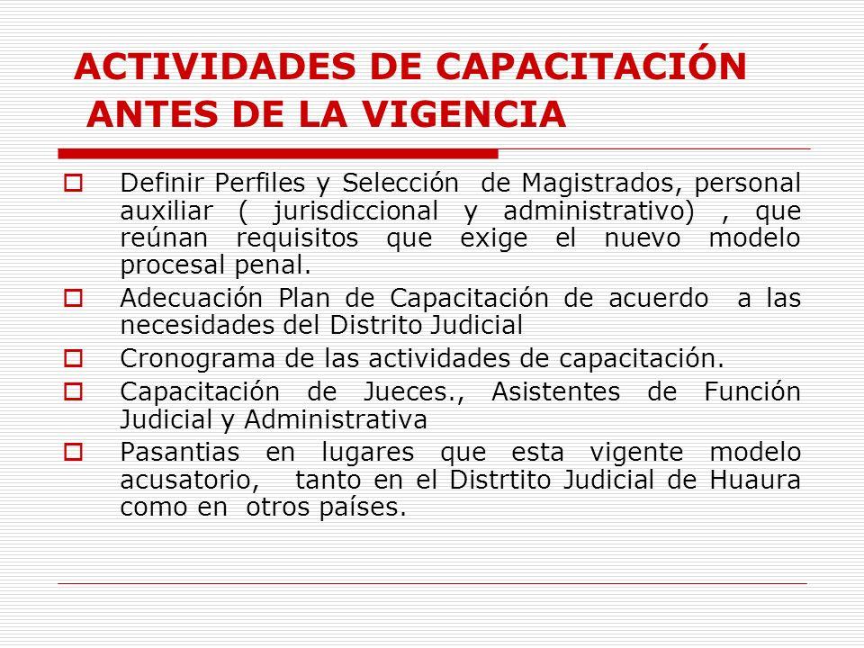 ACTIVIDADES DE CAPACITACIÓN ANTES DE LA VIGENCIA