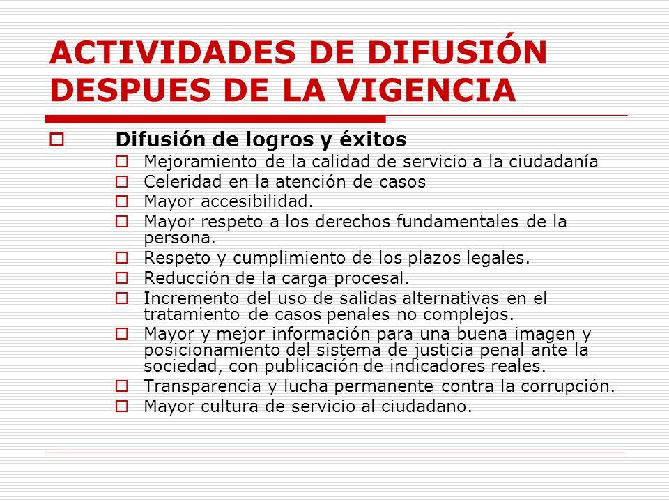 ACTIVIDADES DE DIFUSIÓN DESPUES DE LA VIGENCIA