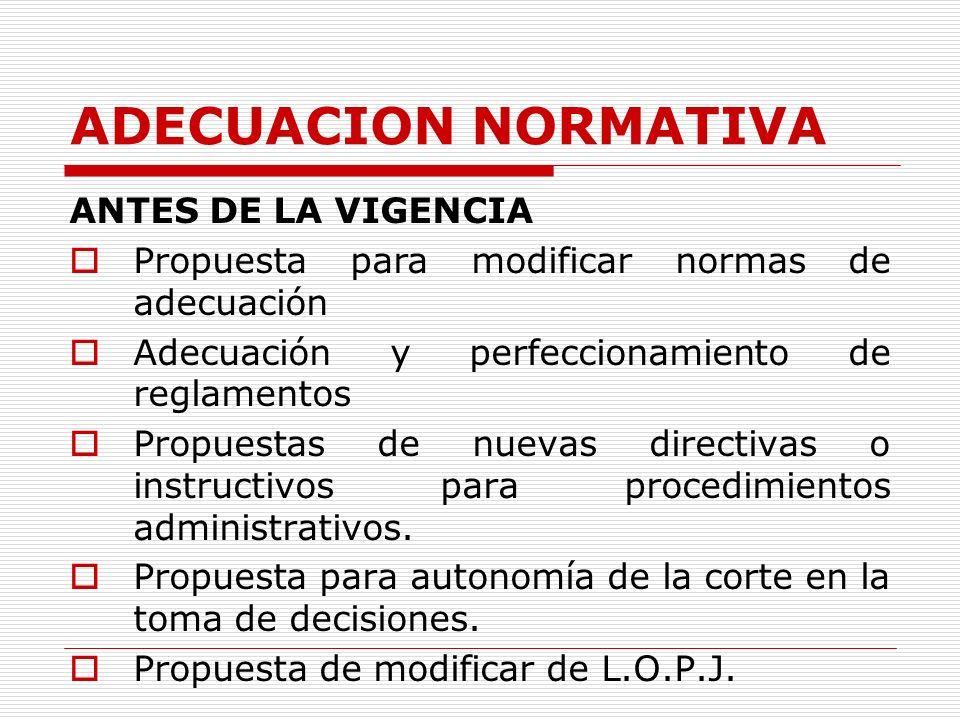 ADECUACION NORMATIVA ANTES DE LA VIGENCIA