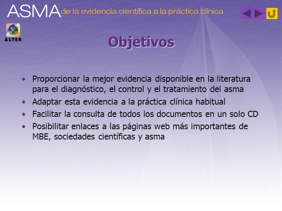 Objetivos Proporcionar la mejor evidencia disponible en la literatura para el diagnóstico, el control y el tratamiento del asma.