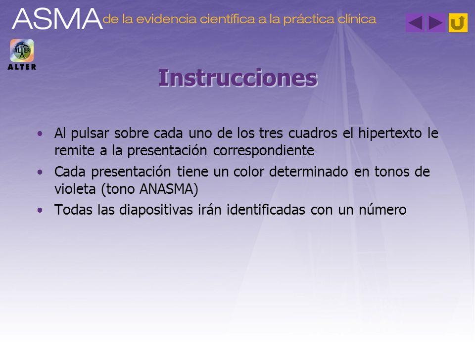 Instrucciones Al pulsar sobre cada uno de los tres cuadros el hipertexto le remite a la presentación correspondiente.