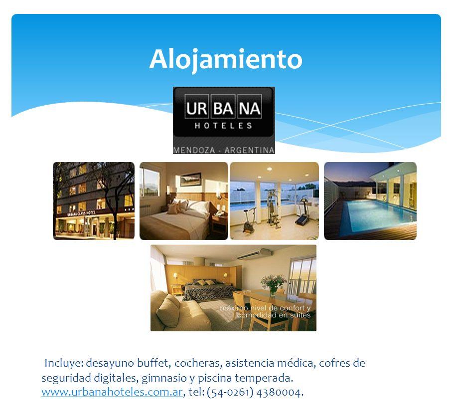 Alojamiento Incluye: desayuno buffet, cocheras, asistencia médica, cofres de. seguridad digitales, gimnasio y piscina temperada.
