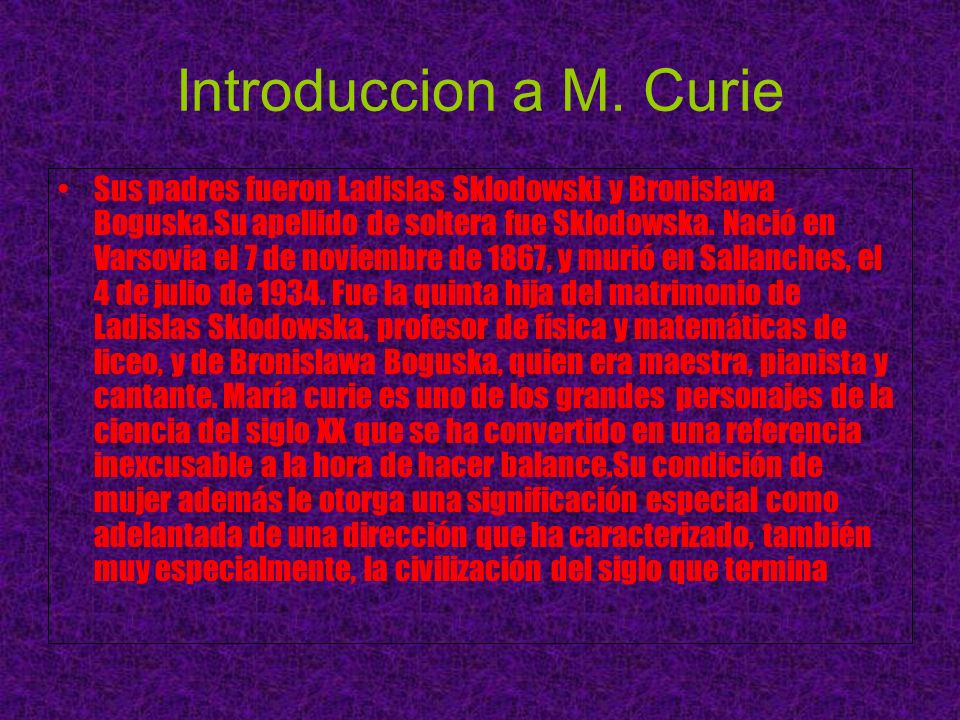 Introduccion a M. Curie
