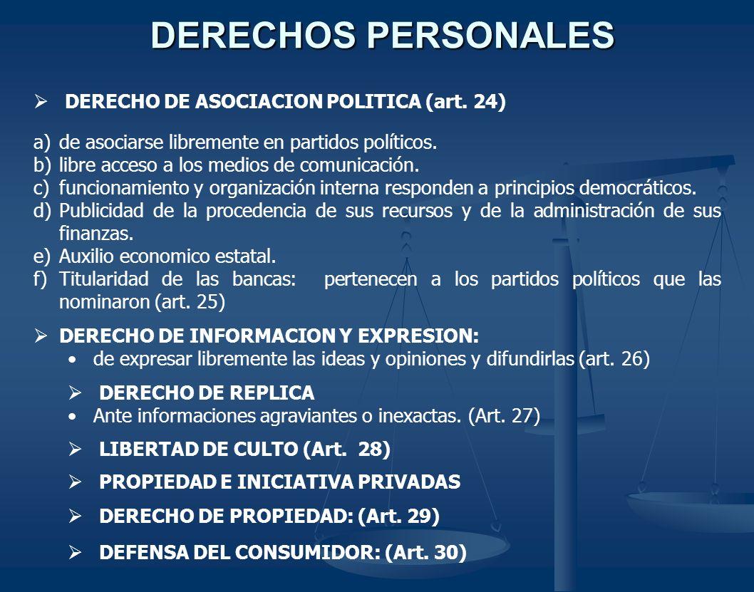DERECHOS PERSONALES DERECHO DE ASOCIACION POLITICA (art. 24)