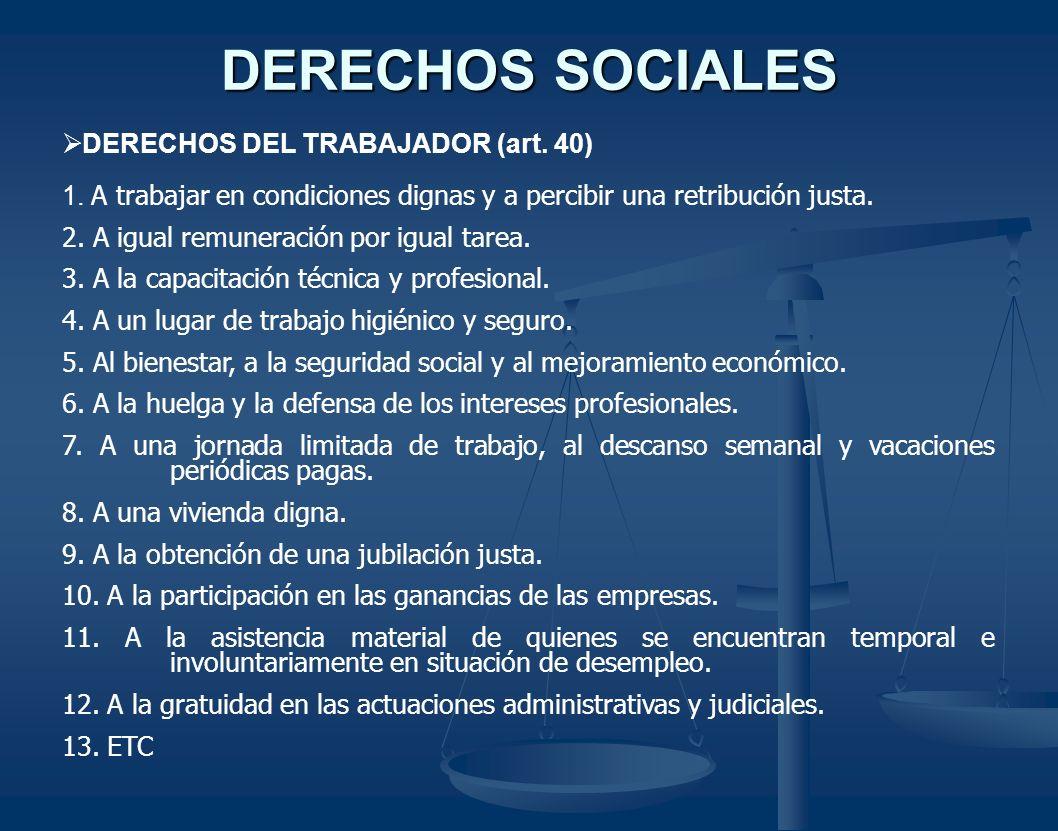 DERECHOS SOCIALES DERECHOS DEL TRABAJADOR (art. 40)