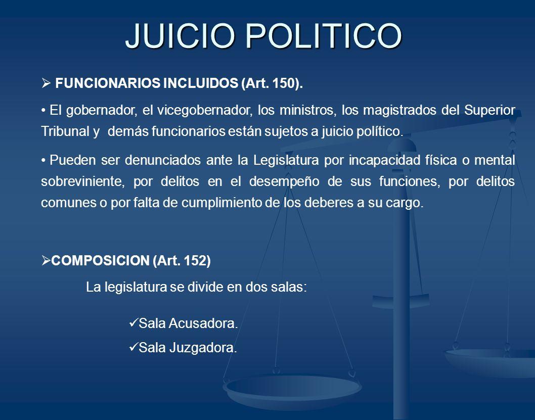 JUICIO POLITICO FUNCIONARIOS INCLUIDOS (Art. 150).