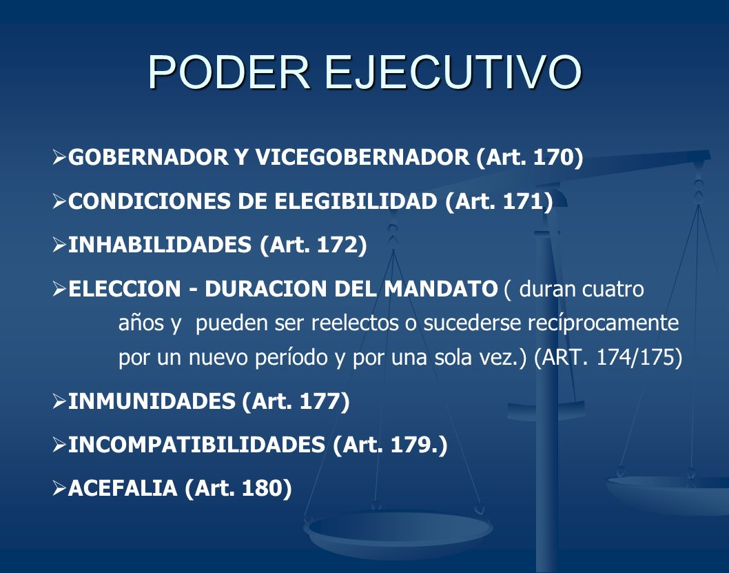PODER EJECUTIVO GOBERNADOR Y VICEGOBERNADOR (Art. 170)