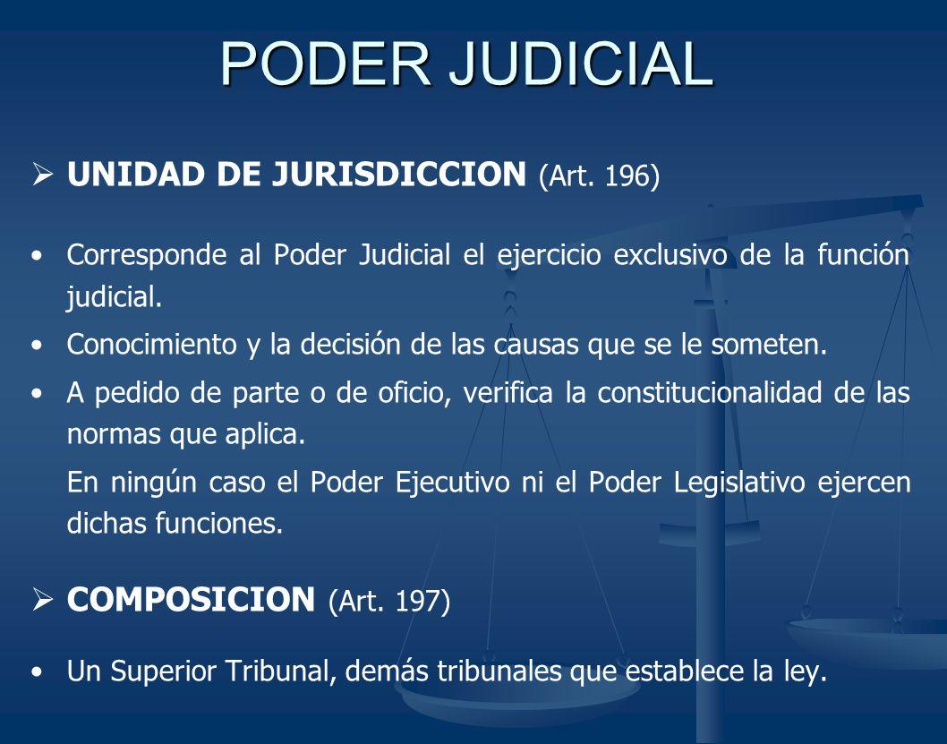 PODER JUDICIAL UNIDAD DE JURISDICCION (Art. 196)