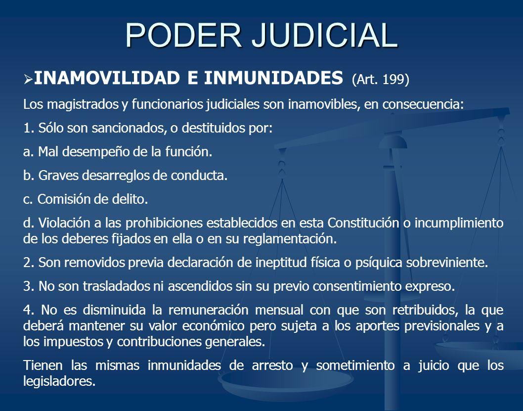 PODER JUDICIAL INAMOVILIDAD E INMUNIDADES (Art. 199)