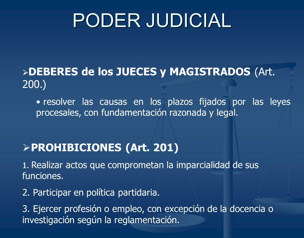 PODER JUDICIAL PROHIBICIONES (Art. 201)
