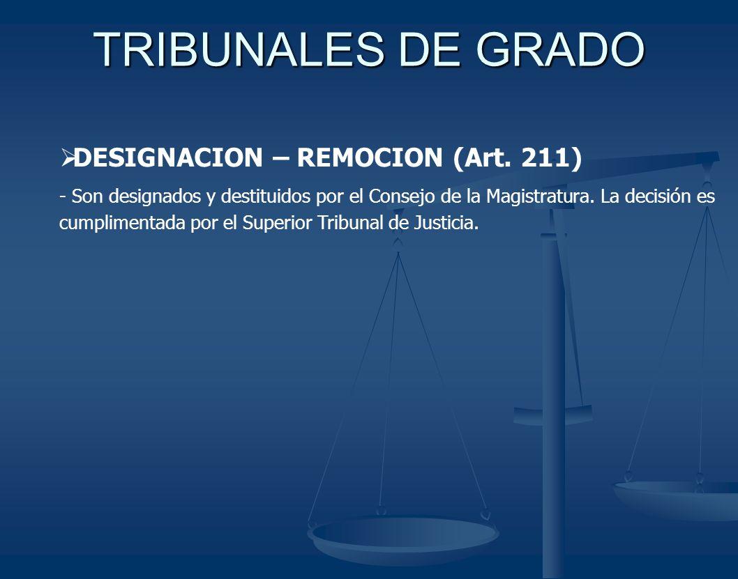 TRIBUNALES DE GRADO DESIGNACION – REMOCION (Art. 211)