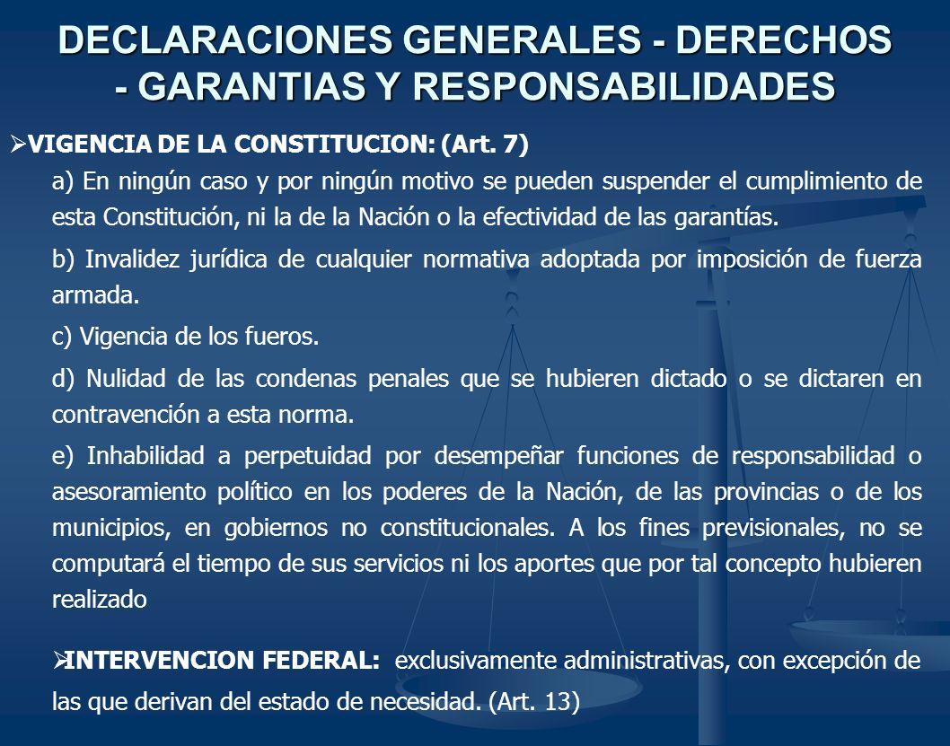 DECLARACIONES GENERALES - DERECHOS - GARANTIAS Y RESPONSABILIDADES