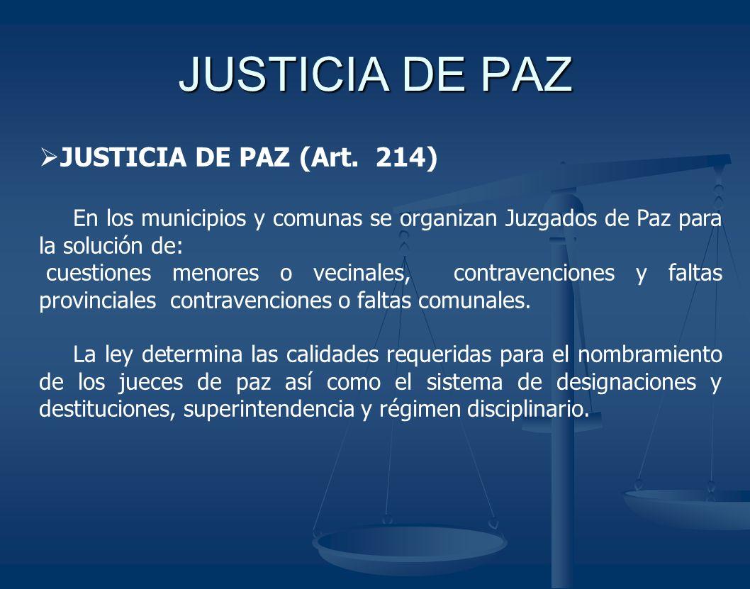JUSTICIA DE PAZ JUSTICIA DE PAZ (Art. 214)