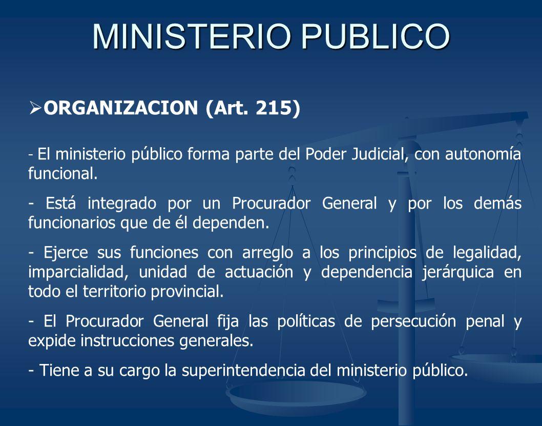 MINISTERIO PUBLICO ORGANIZACION (Art. 215)