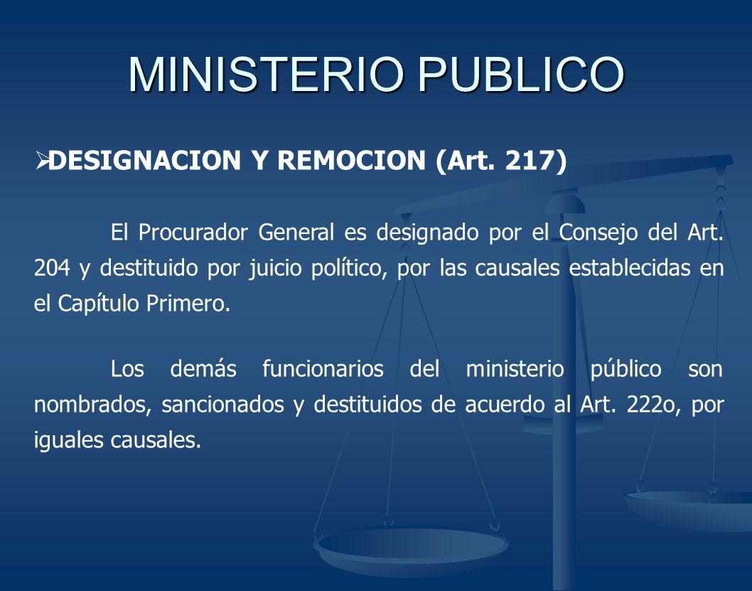 MINISTERIO PUBLICO DESIGNACION Y REMOCION (Art. 217)