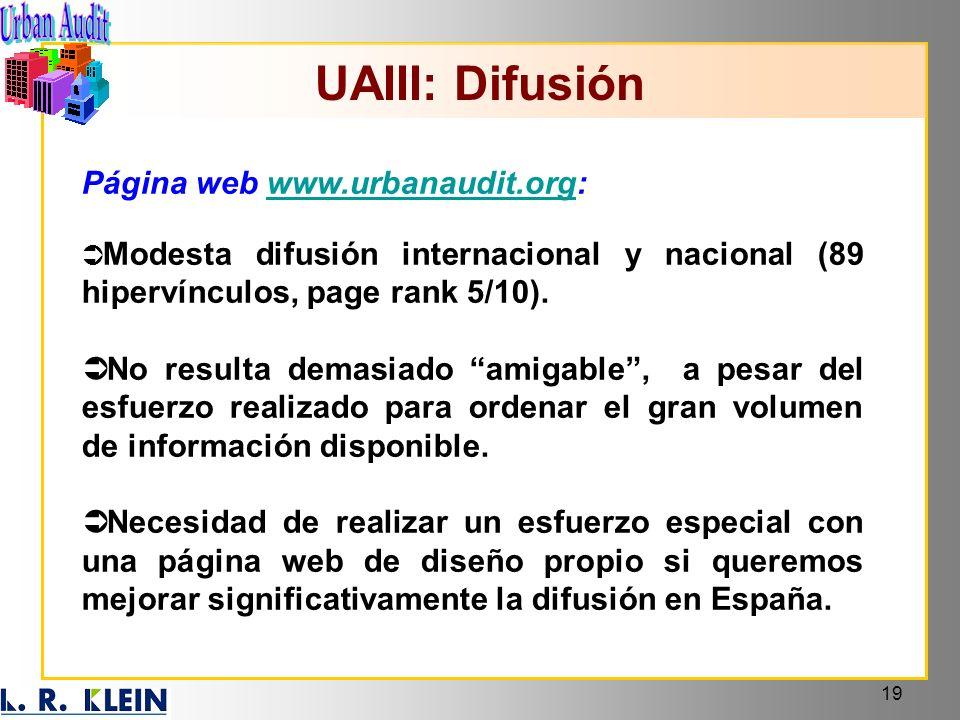 UAIII: Difusión Página web www.urbanaudit.org: Modesta difusión internacional y nacional (89 hipervínculos, page rank 5/10).