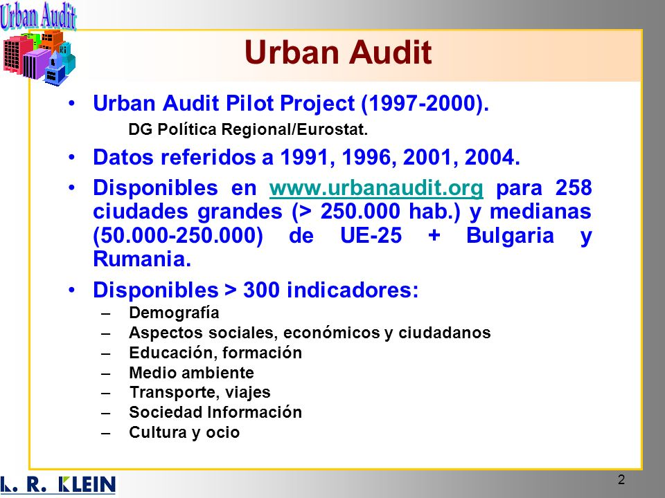 Urban Audit Urban Audit Pilot Project (1997-2000).