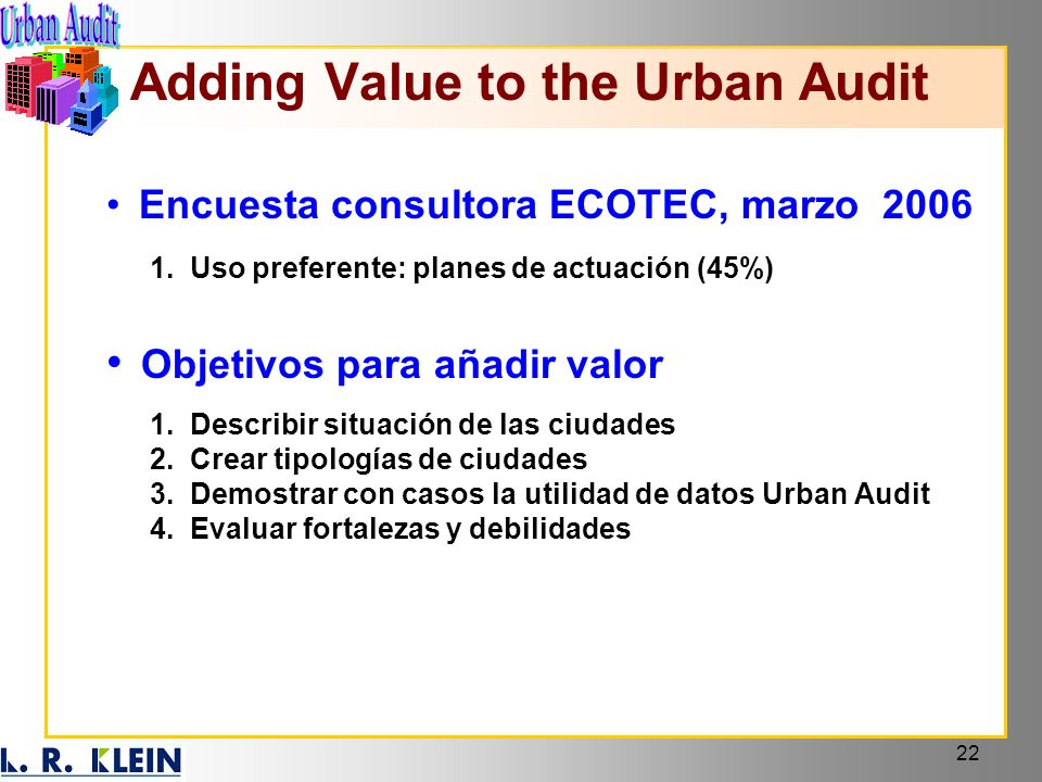 Adding Value to the Urban Audit