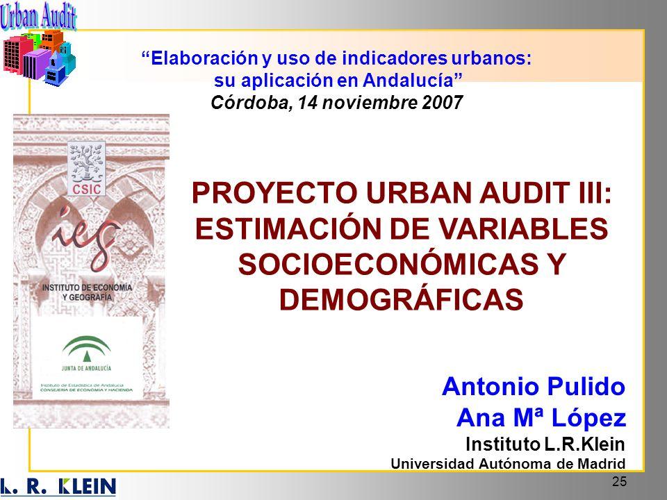 Elaboración y uso de indicadores urbanos: su aplicación en Andalucía
