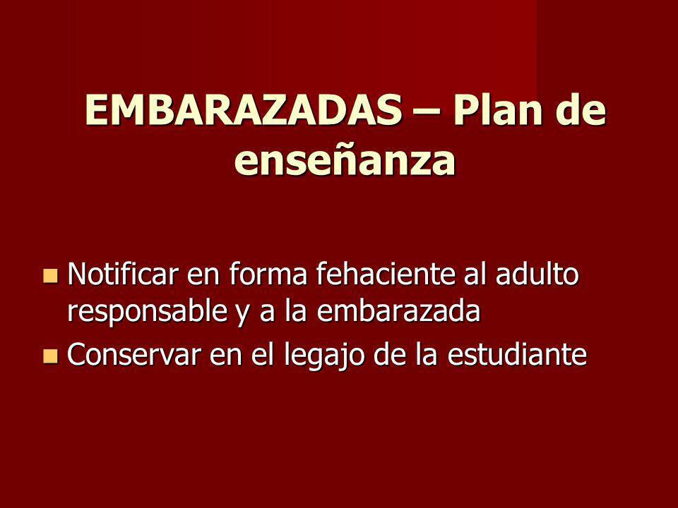 EMBARAZADAS – Plan de enseñanza