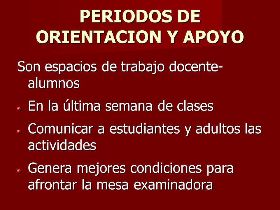 PERIODOS DE ORIENTACION Y APOYO