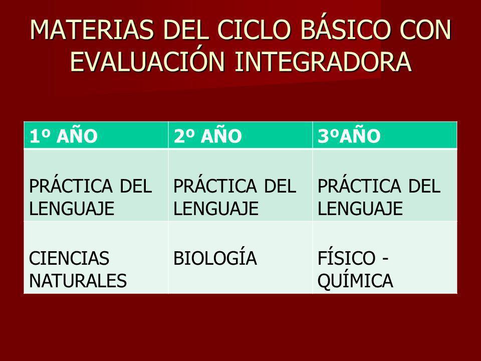 MATERIAS DEL CICLO BÁSICO CON EVALUACIÓN INTEGRADORA