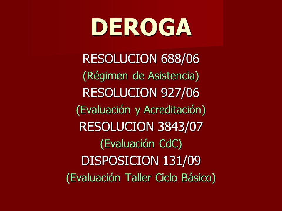 DEROGA RESOLUCION 688/06 RESOLUCION 927/06 RESOLUCION 3843/07