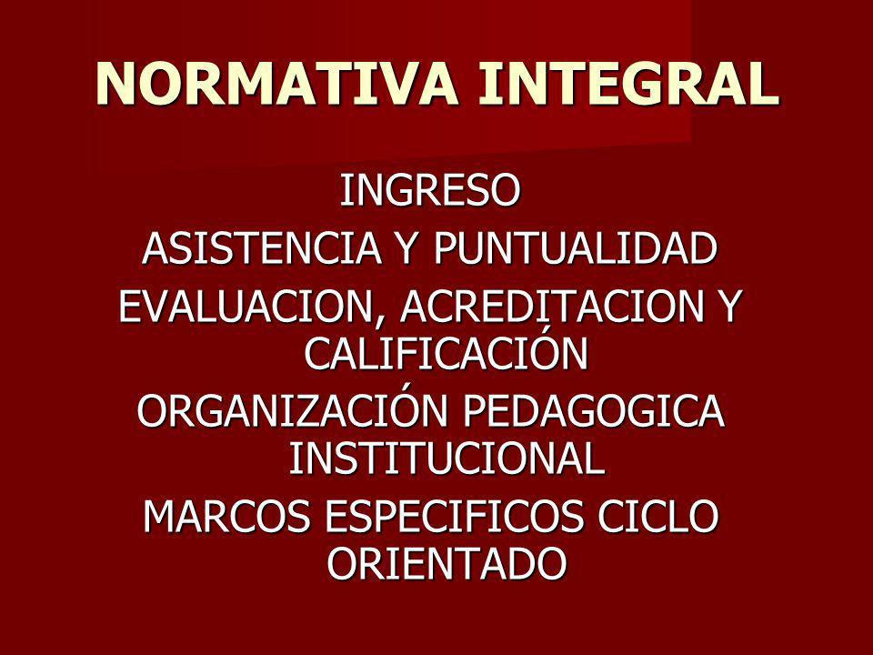 NORMATIVA INTEGRAL INGRESO ASISTENCIA Y PUNTUALIDAD