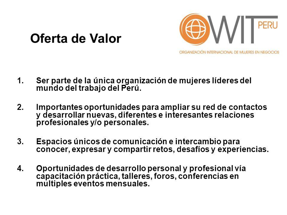 Oferta de Valor Ser parte de la única organización de mujeres líderes del mundo del trabajo del Perú.